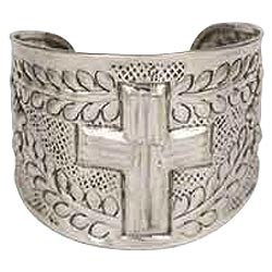 Cross Cuff Bracelet Hammered Silver