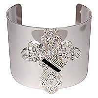 Rhinestone Cross Wide Bangle Bracelet Large