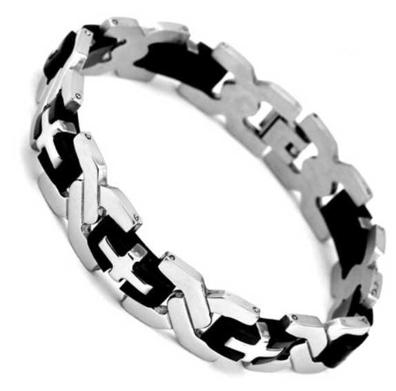 Men's Heavy Cross Bracelet Stainless Steel