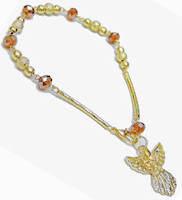 Gold Angel Beaded Charm Bracelet