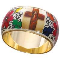 Lady of Guadalupe Bangle Bracelet Brass