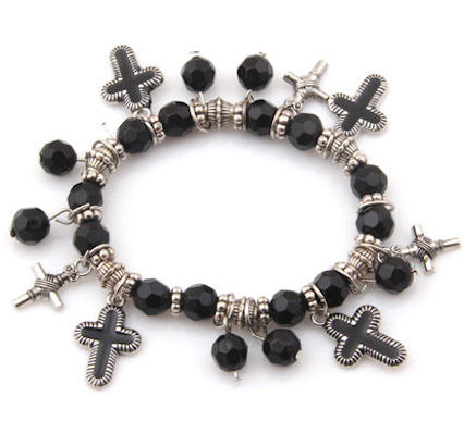 Cross Beaded Charm Bracelet, Silver