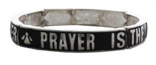 Prayer is the Answer Bracelets Silver Black
