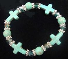 Turquoise Cross Beaded Bracelet Silver Cross Charm  Jesus