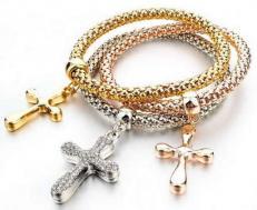 Christian Cross Bracelets 3 Pieces Gold, Silver