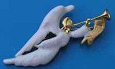 White Christmas Angel Trumpeting Brooch