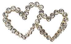 Interlocking Heart Crystal Brooch Pin Silver 2 Inch