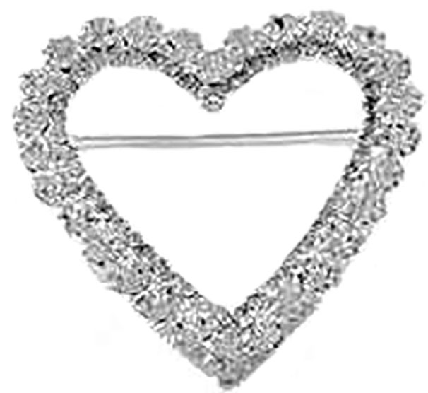 Large Heart Rhinestone Brooch Pin Silver