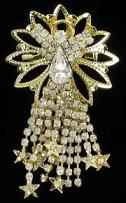 Rhinestone Angel Large Brooch Crystal Stars