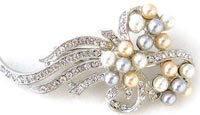Large Flowing Flower Pearl Rhinestone Brooch