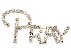 Pray Rhinestone Brooch Pin Silver