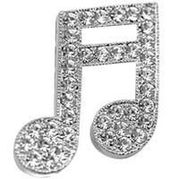MUSICAL Note 16TH Rhinestone Silver Pin
