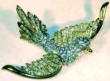 Large Golden Dove Rhinestone Brooch Pin