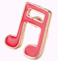 Musical 16TH Note Pins Gold, Red  (Pkg of 12)