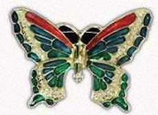 Rhinestone Butterfly Brooch Large