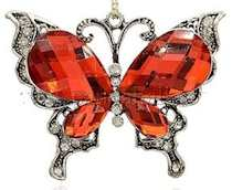 Crystal Rhinestone Butterfly Pendant Red