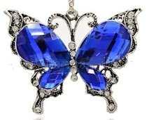 Crystal Rhinestone Butterfly Pendant Blue