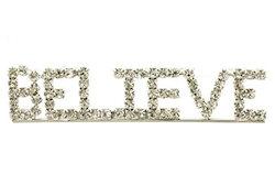 Believe  Rhinestone Brooch Pin Silver