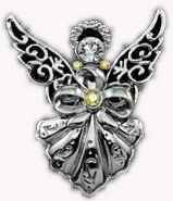 Filigree Angel Brooch Silver Rhinestone