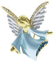Angel with Rhinestone Crystal Wings Brooch Pin