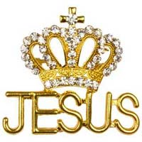 Jesus and Crown Gold and Crystal Brooch