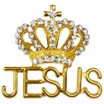 Jesus Crown Rhinestone Brooch Gold