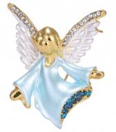 Angel Rhinestone Brooch Pin Gold Crystal Wings Jewelry