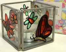 Butterflies Votive Candle - Stained Glass