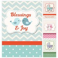 Blessings and Joy Baby Greeting Cards (Box of 12)