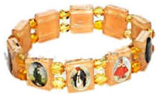 Bracelet - Catholic Saints Pictures Gold Plastic