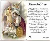 Communion Holy Prayer Card For Girls