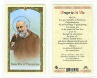 St. Pio Laminated Holy Devotional Prayer Card