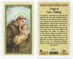 St. Anthony Prayer Laminated Card