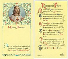 Sacred Heart Memorial Paper Prayer Card