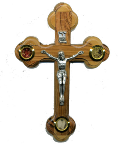 Olive Wood & Pewter  Leaf Crucifix Wall Cross