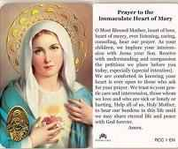 Immaculate Heart of Mary Prayer Card Laminated