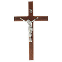 7 3/4 Inch Wood & Pewter Wall Crucifix