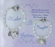 Mother Daughter White Beaded Bracelets