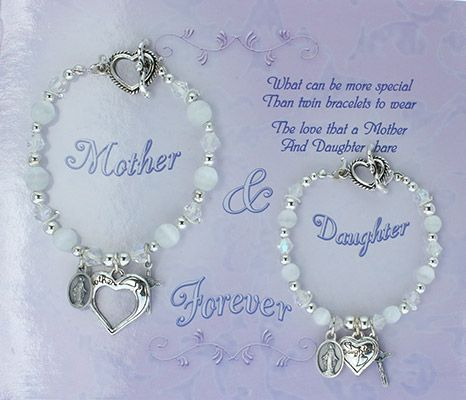 Mother Daughter White Beaded Catholic Charm Bracelets