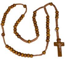 Wood Beads Rosary Light Wood
