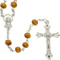 Light Wood Beads 7mm Chain Rosary