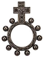 Black Rosary Ring Metal w Crucifix