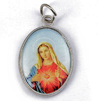 Mary Divine Mercy Pendant- Faux Leather Cord