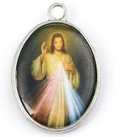 Jesus Divine Mercy Pendant-  Corded