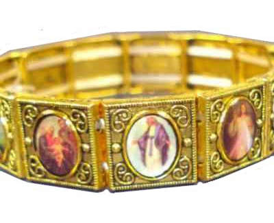 Antique Gold Stretch Religious Picture Bracelet