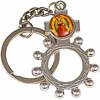 Rosary Ring Key Chain Sacred Heart
