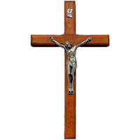 7.5 Inch Wood & Pewter Wall Crucifix
