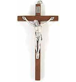 5 Inch Wood & Pewter Wall Crucifix