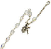 Crystal Communion Bracelet with Miraculous and Crucifix Charms