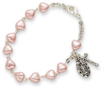 Pink Pearl Communion Bracelet with Miraculous and Crucifix Charms